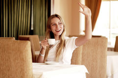 Woman in cafe Stock Photos