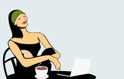 Woman in cafe. Have breakfast and working with laptop Stock Photography