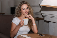 Woman at cafe Royalty Free Stock Photography
