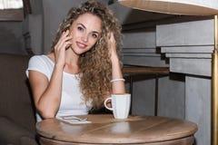 Woman at cafe Royalty Free Stock Photo