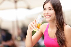 Woman on cafe drinking drink Stock Photos