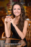 Woman in cafe Stock Image