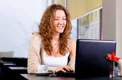 Woman cafe laptop smile 0121(62).jpg Stock Photo