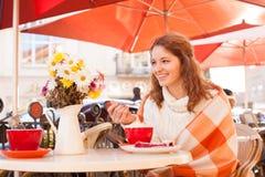 Woman in cafe outdoor Stock Photos
