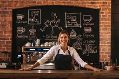 Woman cafe owner. Portrait of confident female barista standing behind counter. Woman cafe owner in apron looking at camera and smiling stock photo