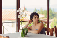 Woman at Cafe Royalty Free Stock Photos