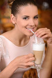 Woman in cafe Royalty Free Stock Image