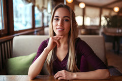 Woman in a cafe or restaurant Stock Photos