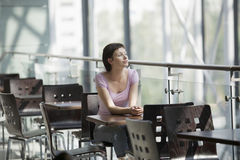 Woman At Cafe Of Shopping Centre. Young women at cafe of shopping centre stock photography