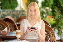 Woman In Cafe Royalty Free Stock Images