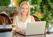 Woman In Cafe Stock Photography