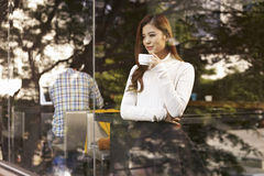 Woman in cafe stock photo