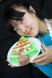Woman and cake Stock Photography