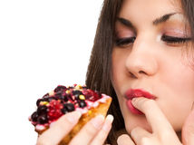 Woman and cake Stock Photo