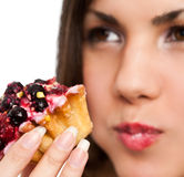 Woman and cake Stock Image