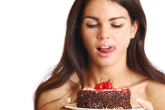 Woman and cake Royalty Free Stock Images