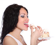 Woman with cake Royalty Free Stock Photo