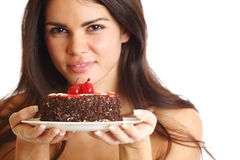 Woman and cake Royalty Free Stock Photos