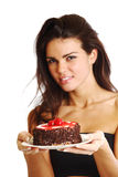 Woman and cake Royalty Free Stock Photo