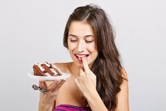 Woman with cake Stock Photography