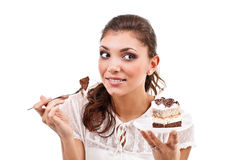 Woman with a cake Royalty Free Stock Photos