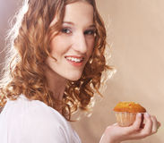 Woman with cake Royalty Free Stock Image