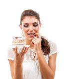 Woman with a cake Royalty Free Stock Images