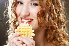 Woman with cake Stock Images