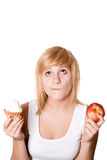 Woman with cake and apple Royalty Free Stock Photos