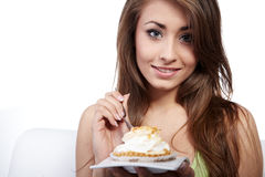 Woman with cake at home Stock Image