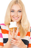 Woman with cake Royalty Free Stock Images