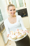 Woman with cakes Royalty Free Stock Photography