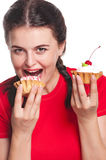 Woman with cakes Royalty Free Stock Photos