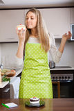 Woman with cakes stock photo