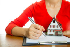 Woman calculate and plan for your good property Royalty Free Stock Photography