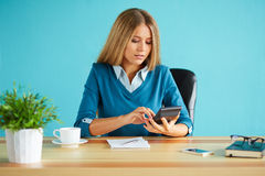 Woman calculates tax Royalty Free Stock Photo