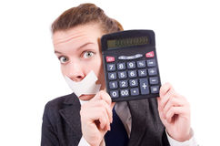 Woman with calculator in fraud concept Royalty Free Stock Photo