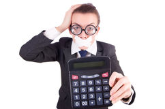 Woman with calculator in fraud concept Royalty Free Stock Photography