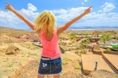 Woman at Calico California stock photo