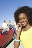 Woman On A Call Stock Images
