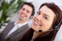 Woman in a call center Royalty Free Stock Images