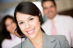 Woman at a call center Stock Images