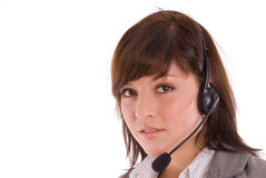 Woman in a call-center Royalty Free Stock Image