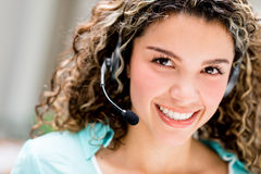 Woman at a call center Royalty Free Stock Images