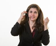 Woman in call center little frustrated Royalty Free Stock Photos