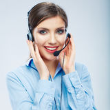 Woman call center operator. Business woman female young Royalty Free Stock Photos