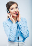 Woman call center operator. Business woman female  Stock Photo