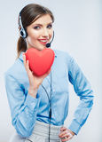 Woman call center operator hold love symbol of Valentine day. R Stock Image