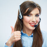 Woman call center operator. Young smiling female worker. Busine Stock Photos