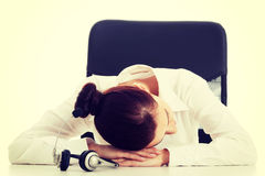 Woman on call center is sleeping Stock Photography